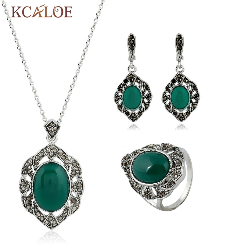 KCALOE Green Jewelry Sets Natural Stone Ring Color Wedding