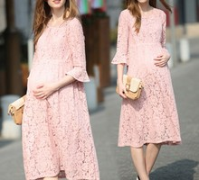 Autumn Winter Pregnant women Clothes Formal maternity dresses Plus Size Pregnancy party Lace Dress Casual Mid calf pink dress