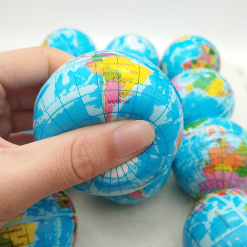 63mm Anti Stress Relief World Map Foam Ball Atlas Globe Palm Ball Planet Earth Ball Toys For Children Girls Boys