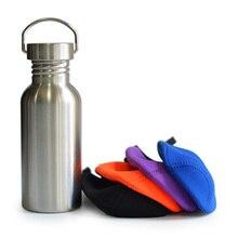 Cepillado de acero inoxidable frasco botella de agua de los deportes con la manga para viajes de camping senderismo ciclismo pesca yoga 500 ml 17 oz