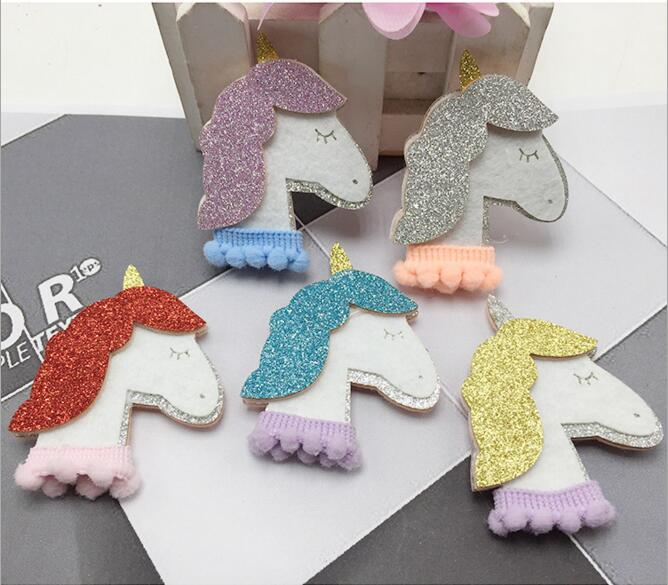 10PCS/Lot 2x3cm Shiny Horse Padded Applique Crafts for Children Headwear Hair clip Accessories