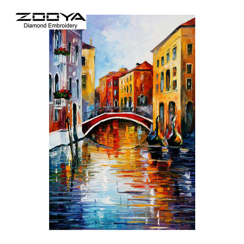 5D DIY Diamond Painting Crystal Diamond Painting Cross Stitch Town Landscape Painting River Needlework Home Decorative BJ1182