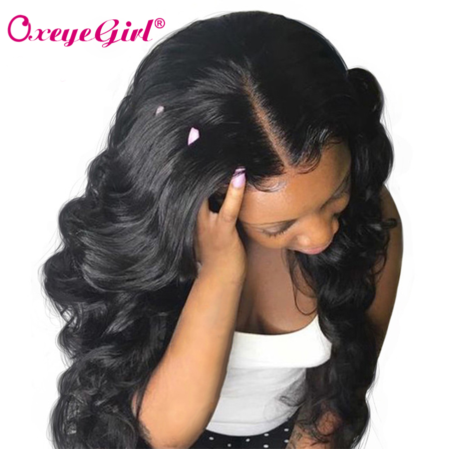 Oxeye girl Lace Front Human Hair Wigs With Baby Hair Brazilian Non-remy Hair Body Wave Wig For Women Natural Black Free Shipping