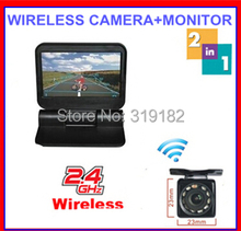 2.4G Wireless Parking 2ch Video 5″ electrical Lcd  800*480 monitor Automatical flip +front back view HD NightRear View Camera