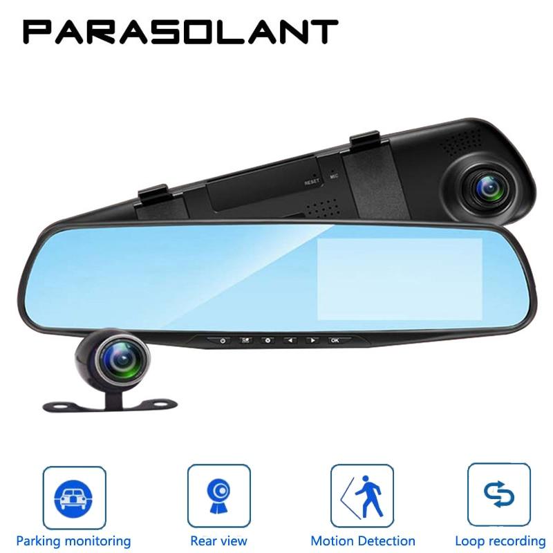 PARASOLANT Auto 4,3 pulgadas retrovisor espejo Digital Video Recorder doble lente Registratory Camcorder Full HD 1080 p Cámara del coche Dvr
