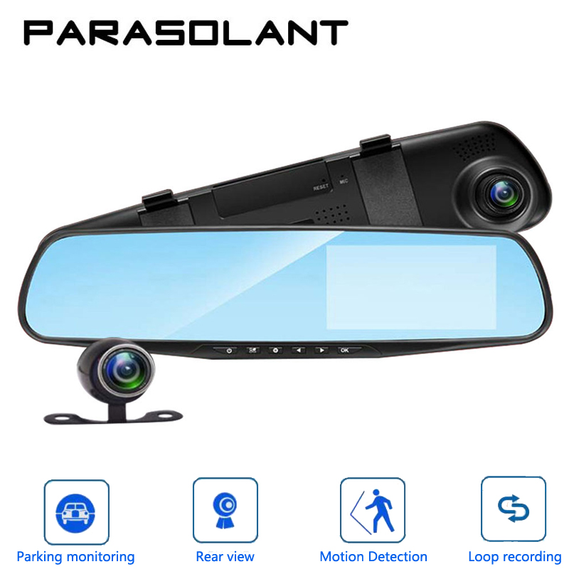 PARASOLANT Auto 4,3 zoll Rückspiegel Digital Video Recorder Dual Objektiv Registratory Camcorder Full HD 1080 p Auto Dvr Kamera