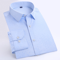 Men S Slim Fit Floral Dobby Dress Shirt High Quality Long Sleeve Spread Collar Formal Male