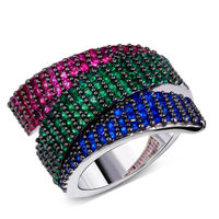 DC1989 New Fashion Colors Women Cocktail Rings Cubic Zirconia Pave Setting Siam Emerald Montana Real White
