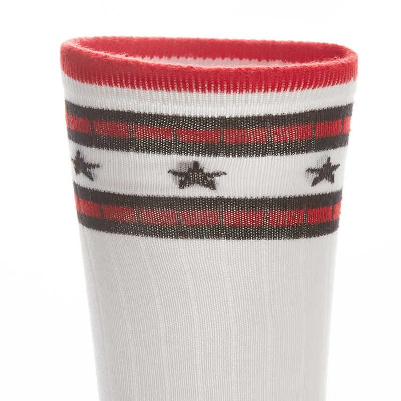 THREEGUN 2 Pairs Frauen Lange Socken Baumwolle Gestreiften Sport Oberschenkel Hohe Socken Weiche Stretch Knie Socken Atmungsaktiv Komfortable Bein Socke
