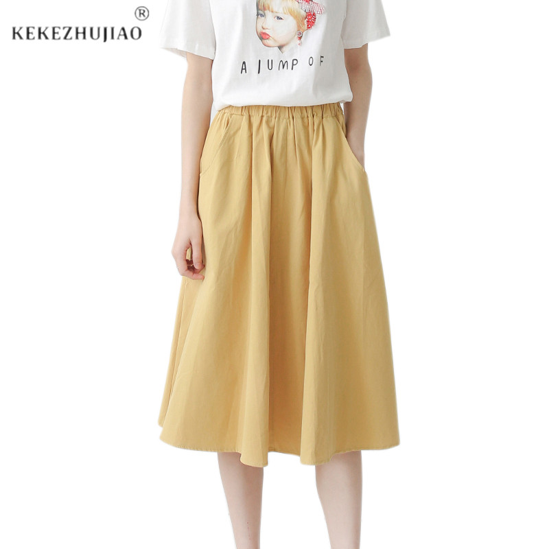 Women Maxi White Cotton Skirt Girl Casual Midi Elastic High Waist Plus Size Flare A Line Pure Color Pocket Summer Skirts Female