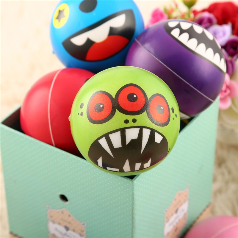 INBEAJY New Quality 6.3cm 12PCS Monster Expression Stress Relief Sponge Foam Balls Hand Squeeze Toys For Kids
