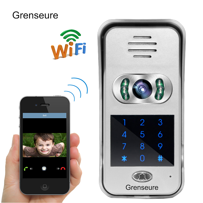 Free Shipping Code / Keypad Wireless Wifi Doorbell 720P HD Video Intercom Door Phone for Phone Remote View / Unlock WHOLESALE free shipping wifi video door phone intercom metal outdoor doorbell with rfid code keypad access remote electronic door lock