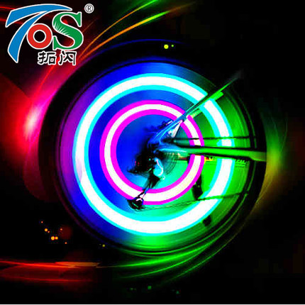 TOS 1PC Bicycle Light Bike Lamp LED Tyre Tire Valve Caps Wheel Spokes Cycling Lanterns For Bicycle Accessories Red Blue Green