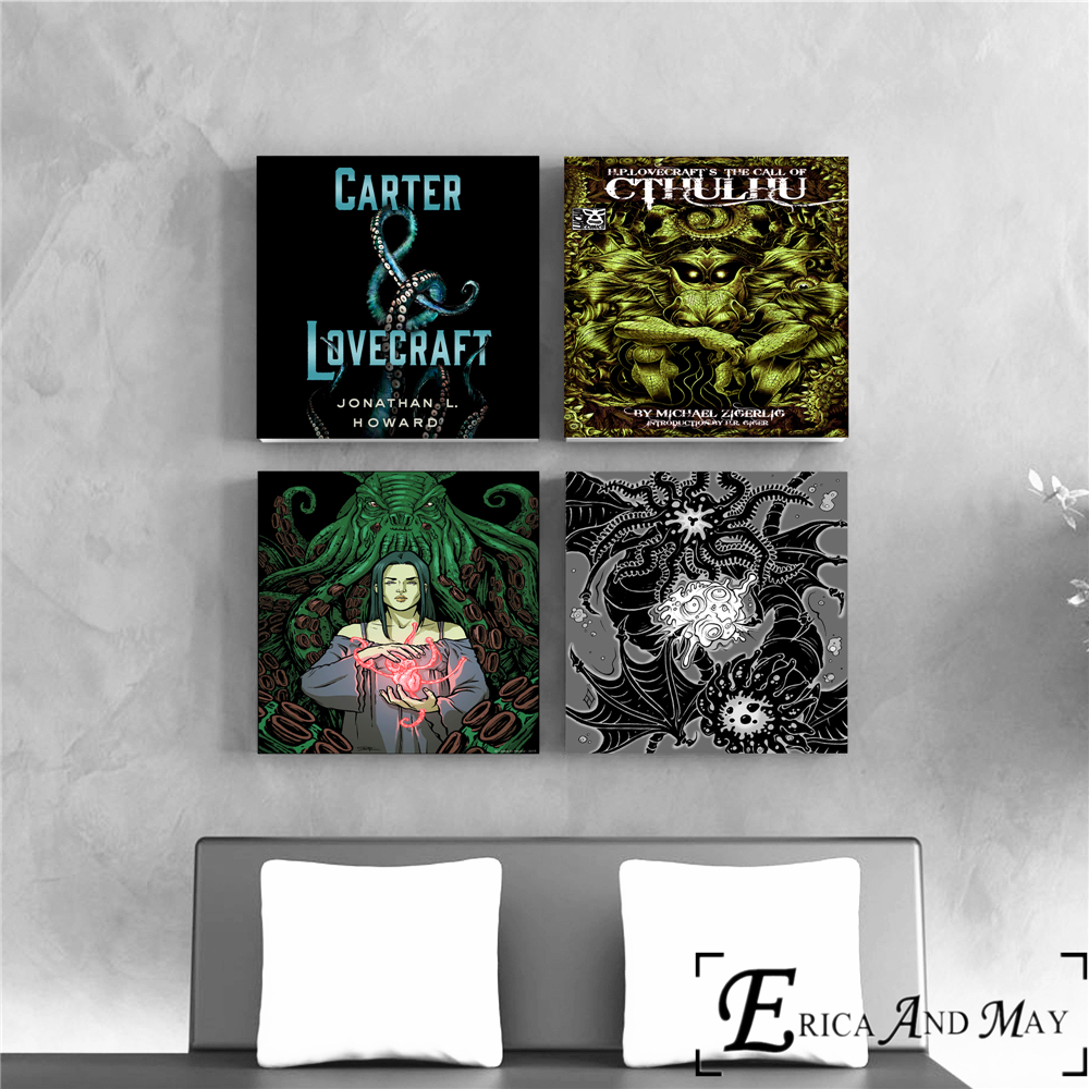 US $3 5 50% OFF|H P  Lovecraft Horror Abstract Canvas Prints Modern  Painting Posters Wall Art Pictures For Living Room Decoration No Frame-in  Painting
