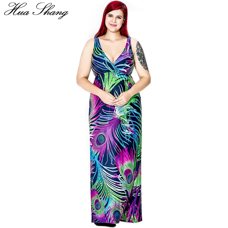 Women Summer Sleeveless Deep V Neck Sexy Tank Dress Peacock Feather Print Bohemian Beach Dress High Wait Floor Length Maxi Dress