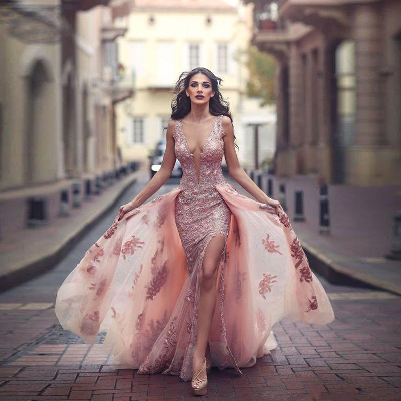 2018 nouvelles robes de soirée sirène arabe avec Train détachable Sexy Split pure encolure dégagée Tulle robe de soirée robe de soirée formelle