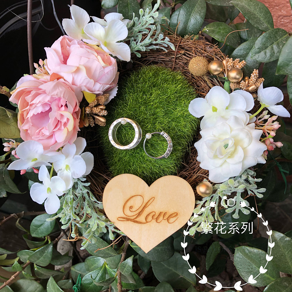 Free shipping1pcs custom Pink Photo props engagement wedding decoration wedge ring nest pillow marriage proposal good idea image