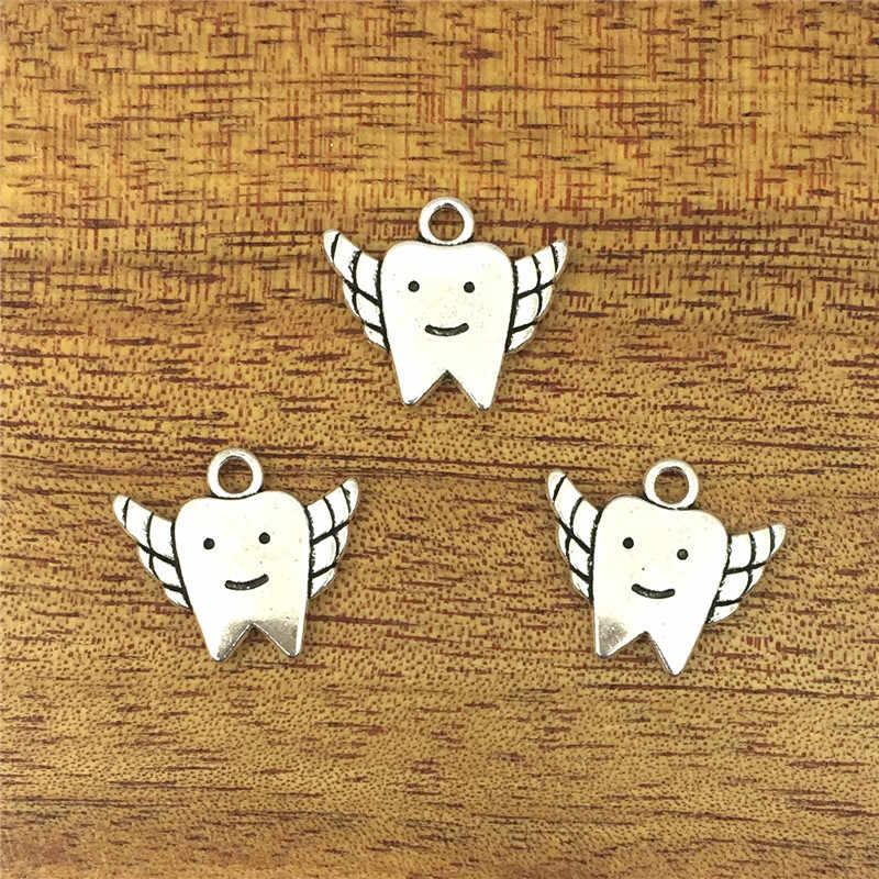 10 pcs Charming Tooth Fairy 19*17 มม. จี้โบราณอุปกรณ์เสริม, Vintage ทิเบตเงิน, DIY สร้อยข้อมือสร้อยคอ