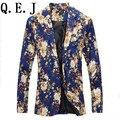 Homens blazers florais 2016new designer marca moda vintage magro custom fit linho flor casual vestido do terno de negócio blazer