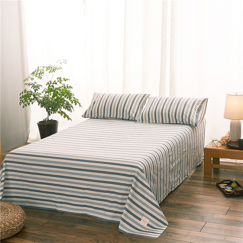 Literary Style Blue And White Stripes Pattern Bedding Set ...