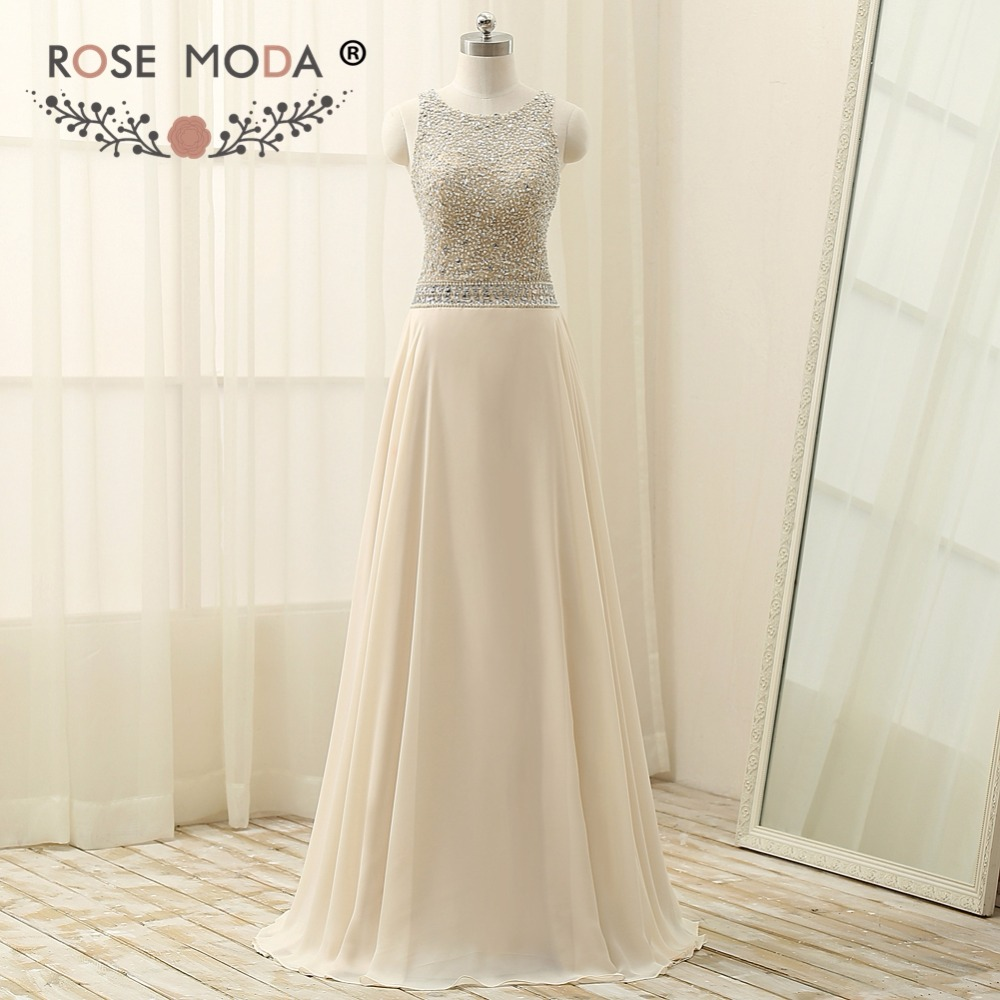 Rose Moda Crystal Beaded Champagne   Evening     Dress   Cut Out Back Formal Party   Dress   for Wedding Guest 2018
