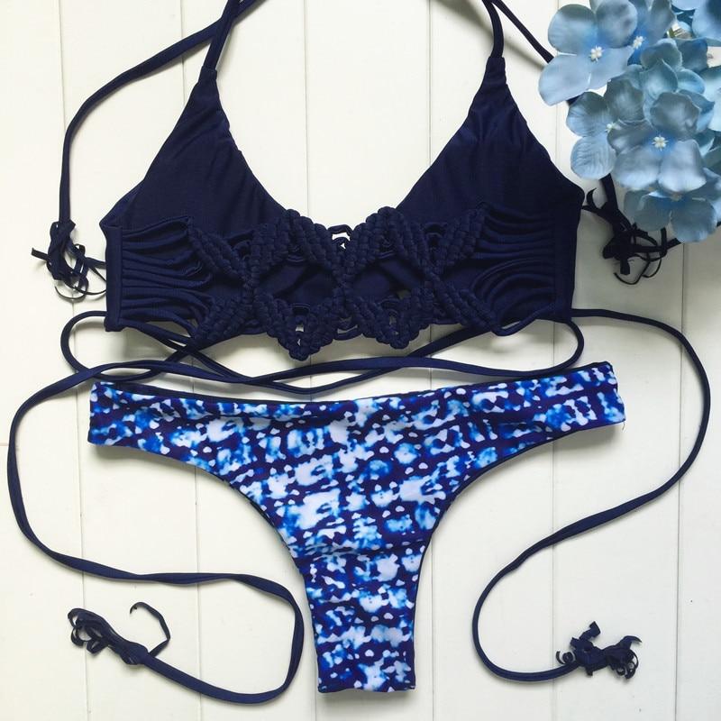 ФОТО Braided Lady Bandage Bikinis Set Halter Swimsuit Bandeau Bikini Brazilian Maillot De Bain Beach Holiday Swim Biquinis E687