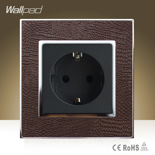цена на Hot Sale Wallpad Hotel Project Luxury 16A 16 Amp European Socket Goats Brown Leather EU Power Supply Outlet Free Shipping