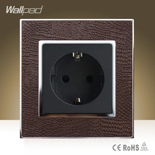 Hot Sale Wallpad Hotel Project Luxury 16A 16 Amp European Socket Goats Brown Leather EU Power Supply Outlet Free Shipping