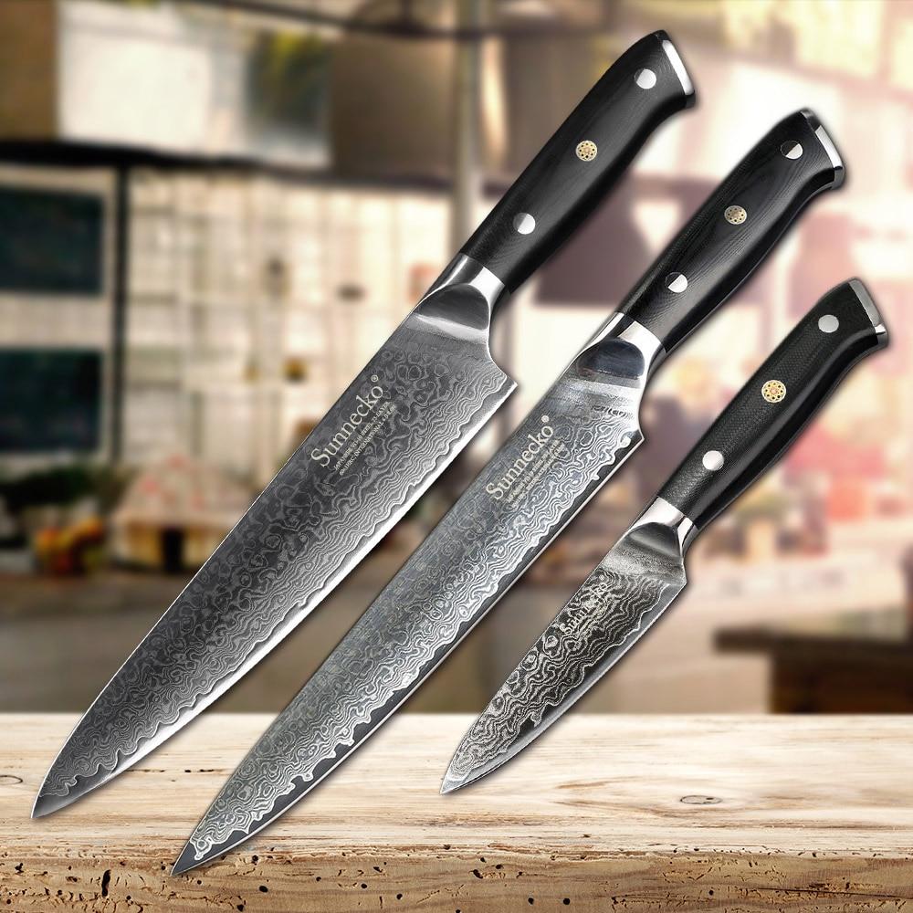 SUNNECKO 3 pz Set di Coltelli Da Cucina Affettatrice Chef lama di Sbucciatura Coltelli Damasco Giapponese VG10 Acciaio Inox Lama di Rasoio Affilato Strumento di Cottura G10 maniglia
