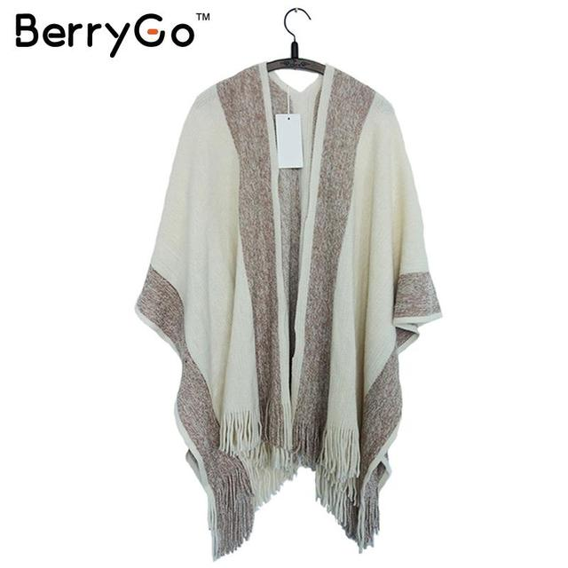 f568e9162ad BerryGo striped tassel tricot warm wool sweater wrap shawl Women knitted  cotton oversized capes and ponchos
