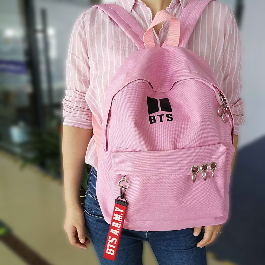 new kpop bts Bangtan Boys jimin suga jung kook Male and female students Canvas Backpack backpack Korean version of the trend bag mshg alligator skin new female bag korean version of the trend of hand painted handbags european and american fashion middle age