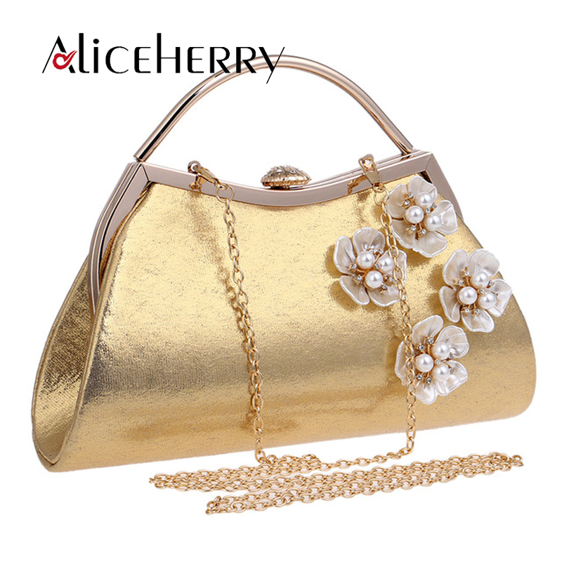 Luxury Brand Golden Silver Flower Women Clutch Bags Evening Bag Bridal Wedding Day Clutches High Quality yuanyu 2018 new hot free shipping real python leather women clutch women hand caught bag women bag long snake women day clutches