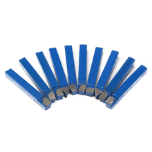 10PCS 1/4 Blue Carbide Lathe Tool Tip Tipped Cutter Welding Turning Tools Kit For Metal Cutting