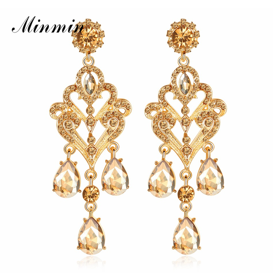Us 3 26 30 Off Minmin Luxury Gold Color Crystal Long Drop Chandelier Earrings For Women Fashion Wedding Prom Jewelry Teardrop Meh1152 In