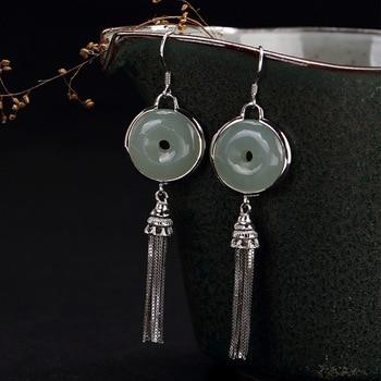 2018 Limited Sale Restoring Ancient Ways Is Hetian Jade Inlay Peace Buckle Tassel Female High-grade Pendant Earrings Wholesale