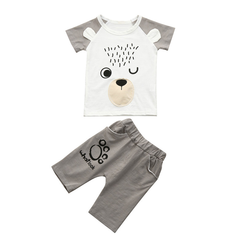2018 ARLONEET 2PC Toddler Kids Baby Boy Cartoon Printed T shirt Tops+ Shorts Outfits Clothes Set Summer Children Cothing