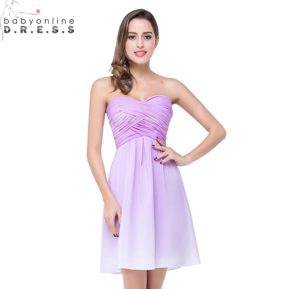 Robe Demoiselle D'honneur Cheap Chiffon Short   Bridesmaid     Dresses   Sexy Backless Sweetheart Neck Wedding Party   Dress