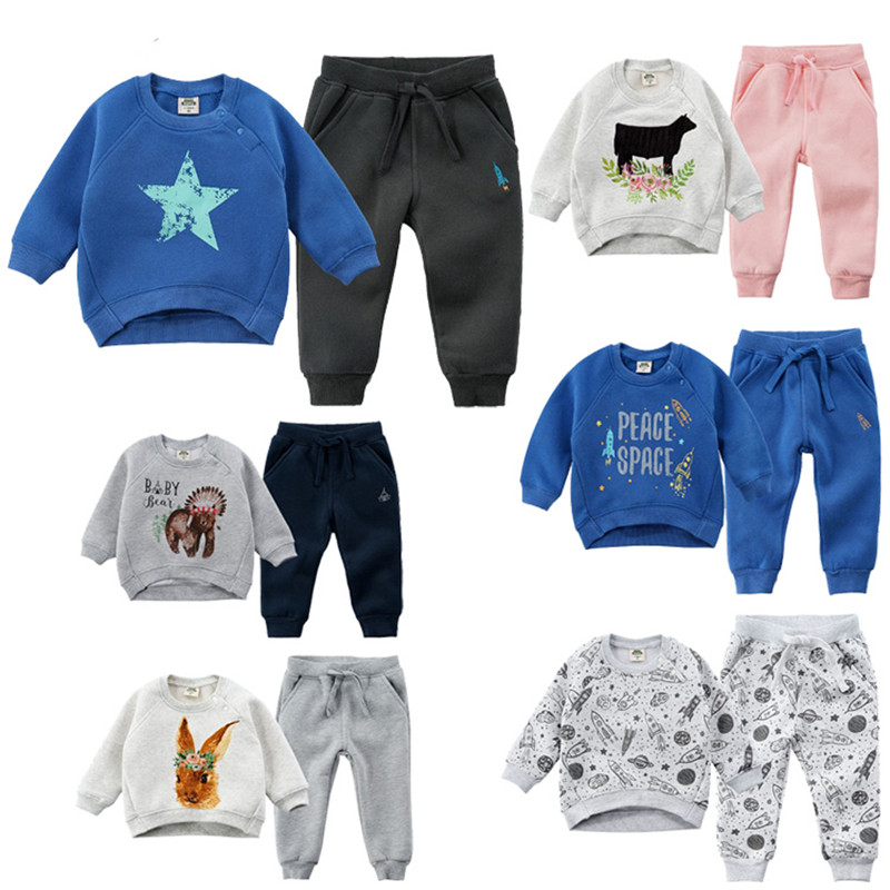 Children's Winter Boy Set Girls Velvet Outfits Winter Clothes Kids Tracksuits for Children Fashion Toddler Boys Warm Sports Suit toddler boys velvet suit baby girl kids winter clothes fashion warm children clothing set autumn 2018 outerwear girls outfits