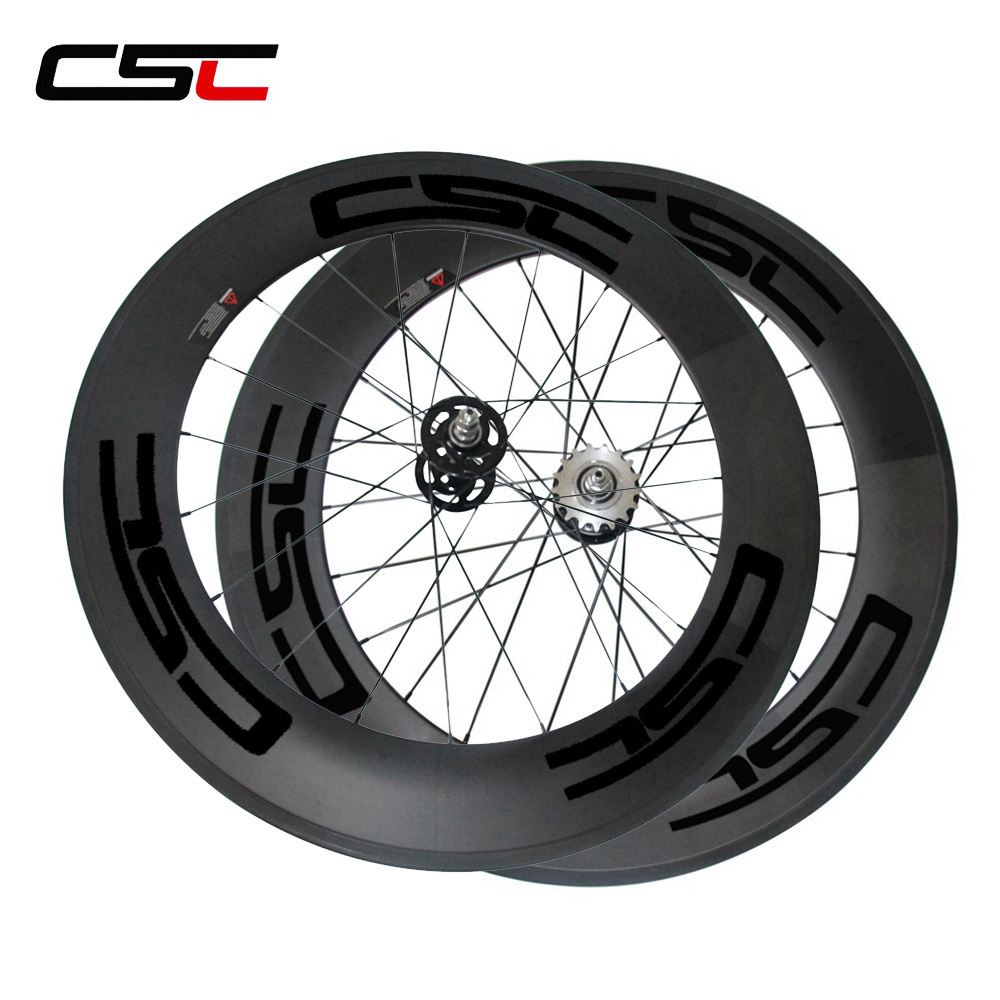 CSC 23mm Width 88mm Clincher carbon track bike wheels fixed gear flip flop bicycle wheelset no brake farsport fsl88 cm 23 clincher 88mm 23mm track bike carbon bike wheel rim 88 high profile 88mm carbon track bicycle rim