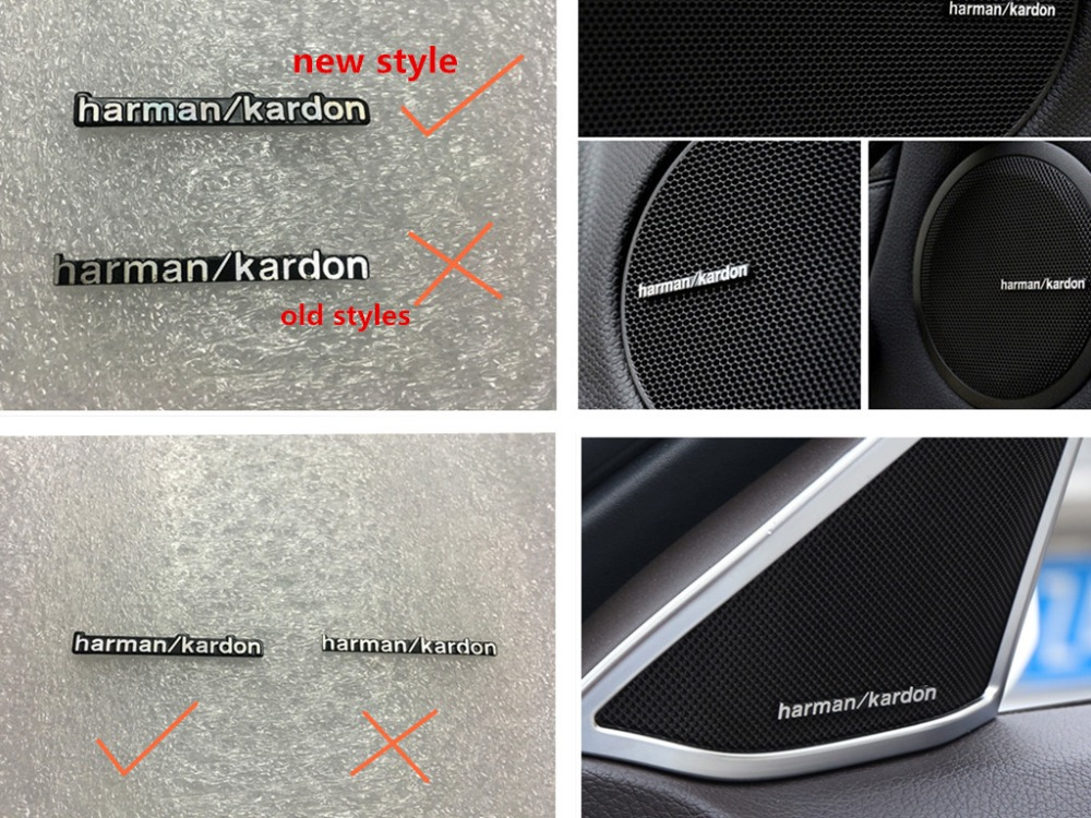 New Styles 100pcs/lot Harman/kardon Hi-Fi Speaker Audio Speaker 3D Aluminum Badge Emblem Stereo Sticker Car Styling
