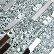 Interlocking Stainless Metal Crystal Glass Mosaic Tile 13 Beveled Diamond Mirror