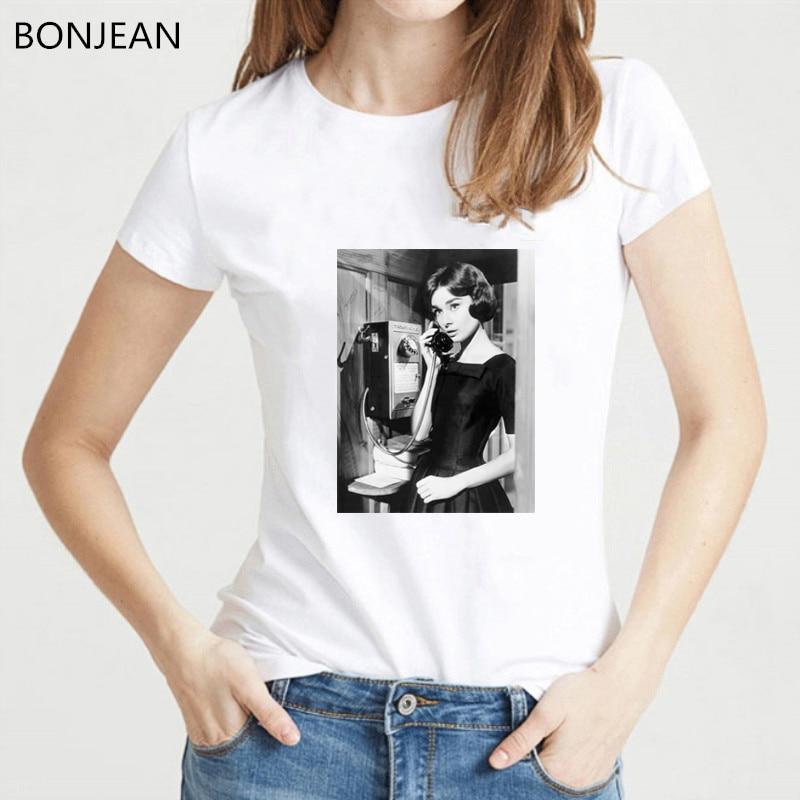 Vintage Audrey Hepburn Printed Tshirt Women Black & White Design Aesthetic Clothes Vogue T Shirt Femme Streetwear Tumblr T-shirt