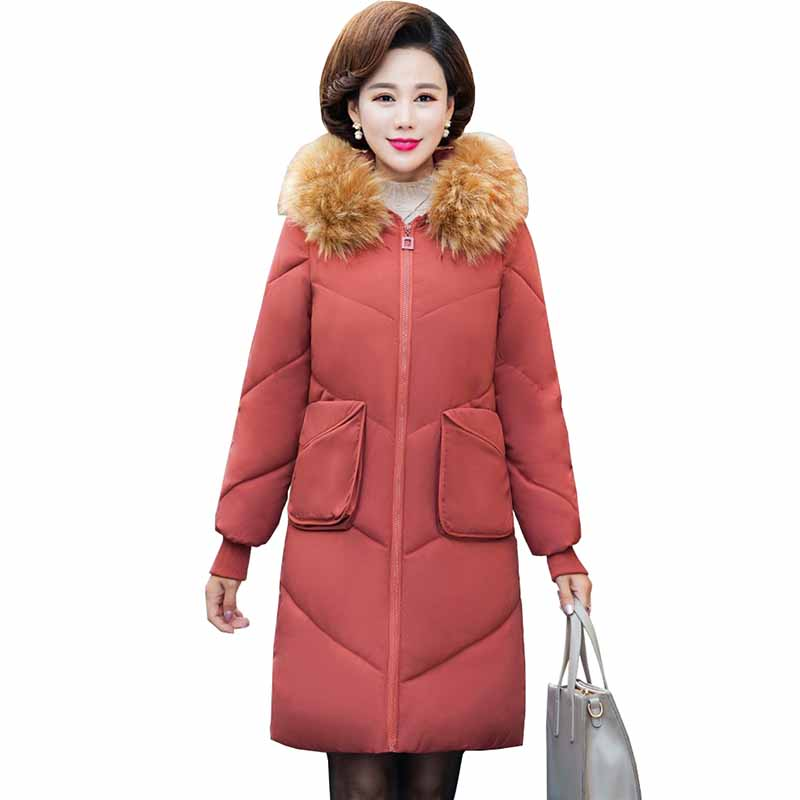 2019 winter   parkas   women Cotton-padded jacket Thicken Hooded long outerwear middle aged female Plus size down cotton coats G515