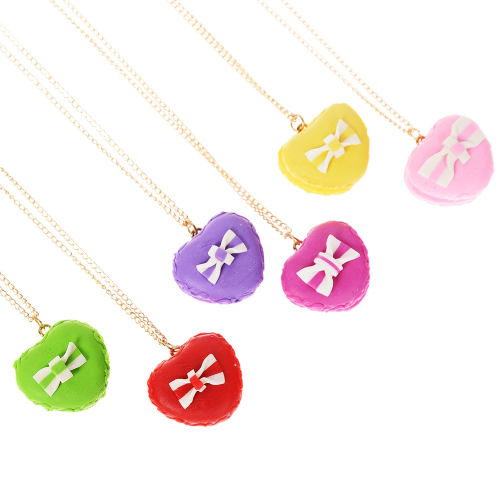 1 Pc Random Color Girls Best Friends Necklace Love Heart Shape Polymer Clay Pendant Necklace For Children Christmas Gift Jewelry
