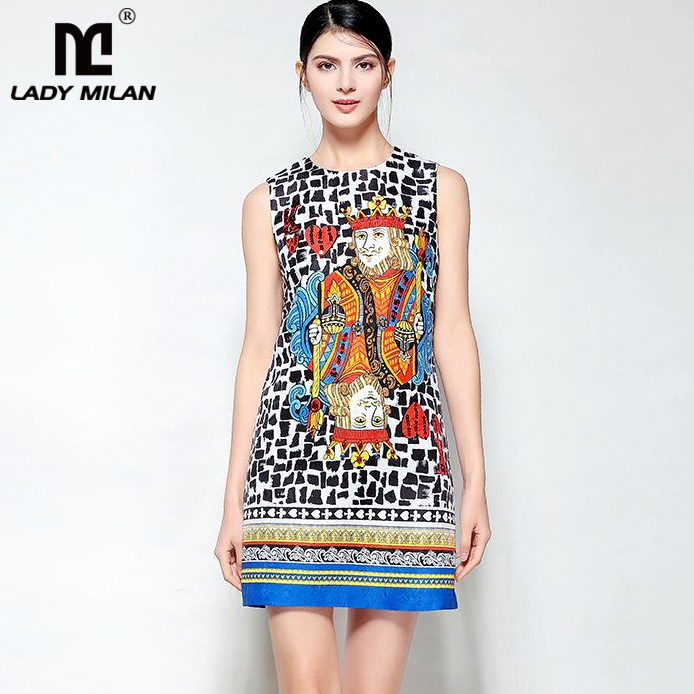 New Arrival Womens O Neck Sleeveless Characters Printed Beaded Fashion Designer Jacquard Runway Dresses