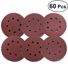60pcs 5-inch Hook and Loop Grid Sandpaper 8-Hole Grit Sanding Disc Pads 60/ 80/ 180/ 240/ 320