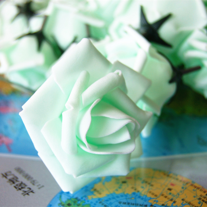 50 Pieces / Lot Mint Roses Artificial Flowers With Stem and Leaf PE Foam Mint Green Rose Flower Wedding Decorative V49