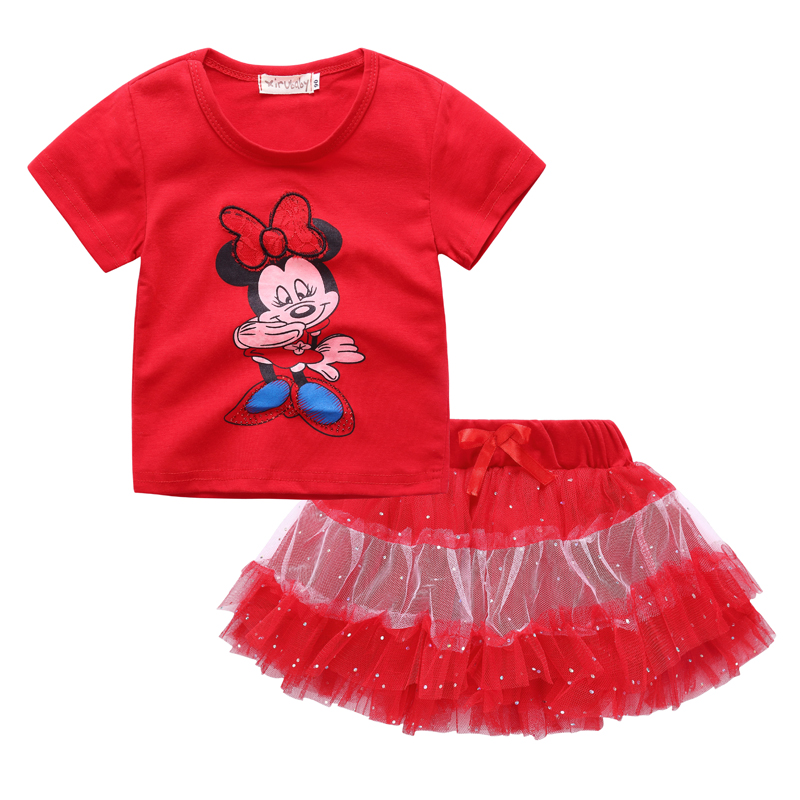 2017 Nouveaux enfants fille vêtements ensemble, bébé filles minnie vêtements ensembles, minnie t-shirt + tutu jupes ensembles Enfants 2 pcs costume vêtements ensemble