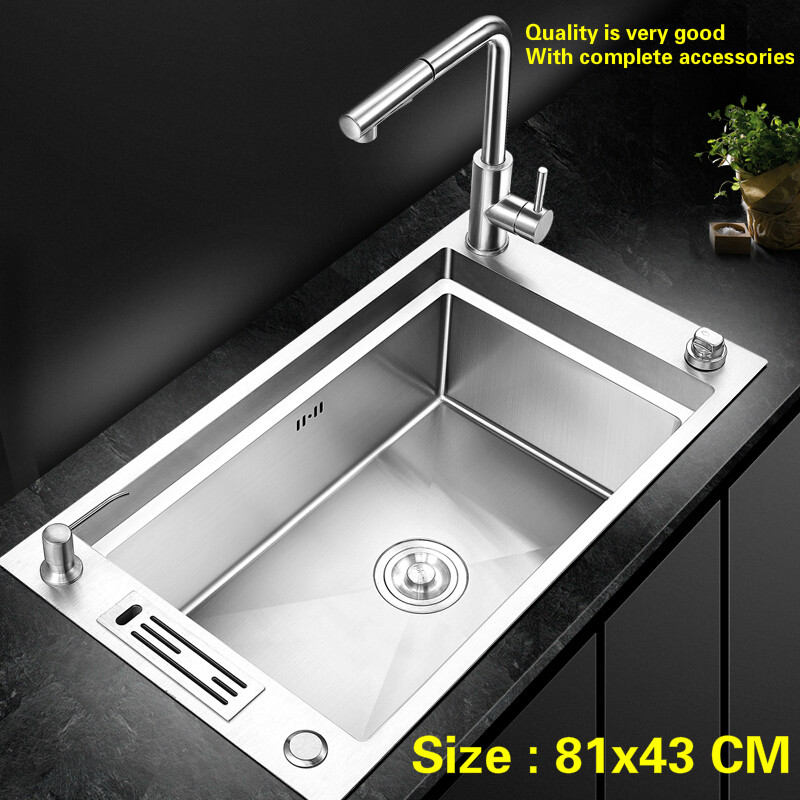 Free shipping Household kitchen manual sink single trough standar push-button drainer 304 stainless steel big hot sell  81x43 CMFree shipping Household kitchen manual sink single trough standar push-button drainer 304 stainless steel big hot sell  81x43 CM