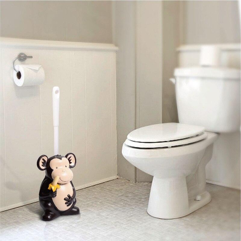 Ensemble de brosse de toilette avec base ménage salle de bains toilette pas d'angle mort brosse de nettoyage singe de bande dessinée